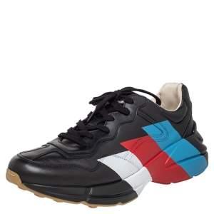 Gucci Black Leather Rhyton Web Print Low Top Sneakers Size 44