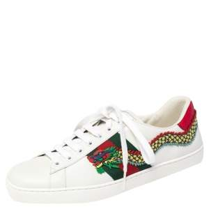 Gucci White Leather Ace Dragon Embroidered Low Top Sneakers Size 40