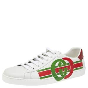 Gucci White Leather Interlocking G Ace Lace Up Sneakers Size 43.5