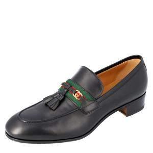 Gucci Black Web and Interlocking G Loafers UK 7.5/EU 41.5