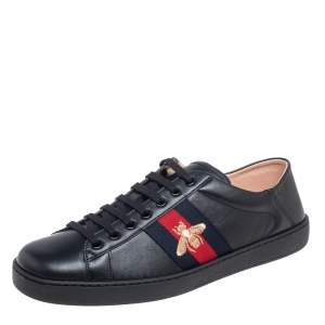 Gucci Black Leather Ace Low Top Sneakers Size 44.5