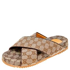 Gucci Beige/Brown GG Canvas And Leather Criss Cross Slide Sandals Size 42