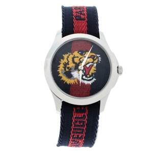 Gucci Black Red Tiger Stainless Steel Le Marche Des Merveilles YA126495 Men's Wristwatch 38 mm