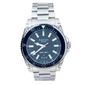 Gucci Blue Stainless Steel Dive 136.2 Men's Wristwatch 45 mm