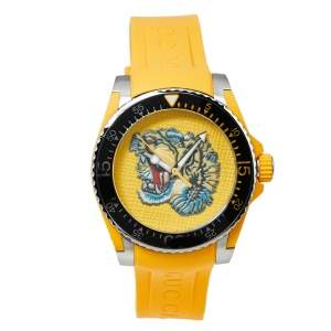 Gucci Yellow Stainless Steel Tiger Motif Dive YA136317 Men's Wristwatch 40 MM