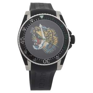 Gucci Black Stainless Steel Tiger Motif YA136318 Men's Wristwatch 40MM