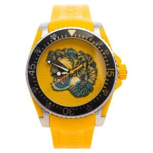 Gucci Yellow Stainless Steel Rubber Tiger Motif Dive YA136317 Men's Wristwatch 40 mm