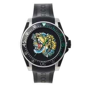 Gucci Black Stainless Steel & Rubber Tiger Motif Dive YA136318 Men's Wristwatch 40 mm