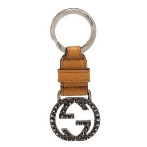 Gucci Tan Leather Double G Keyring