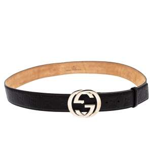Gucci Black Guccissima Leather Interlocking G Buckle Belt 95CM
