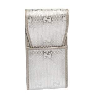 Gucci Silver GG Imprime Canvas Cigarette Case