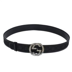 Gucci Black GG Canvas and Leather Interlocking G Buckle Belt 100CM