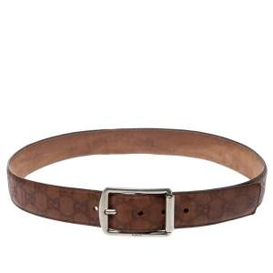 Gucci Brown Guccissima Leather Buckle Belt 90CM