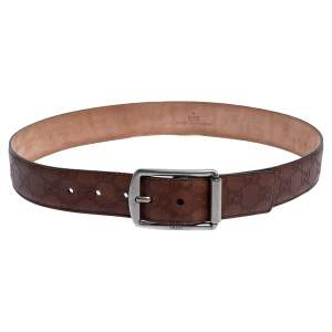Gucci Brown Guccissima Leather Buckle Belt 85CM