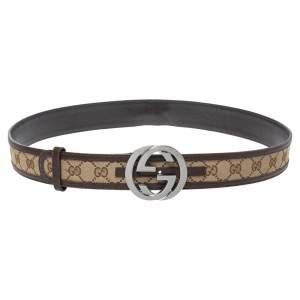 Gucci Beige/Brown GG Canvas and Leather Interlocking G Buckle Belt 100CM