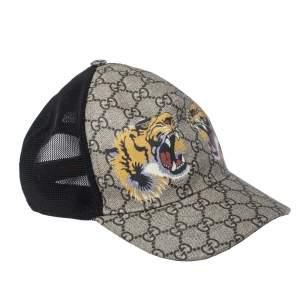 Gucci Beige Tiger Print GG Supreme Baseball Cap M