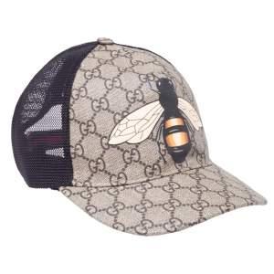 Gucci Ebony Bee Print GG Supreme Baseball Cap M