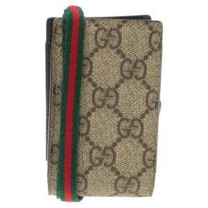 Gucci Beige GG Supreme Canvas Shelly Strap Phone Case