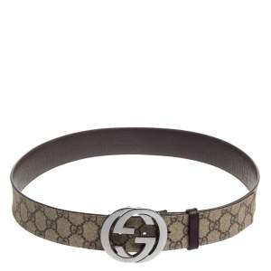 Gucci Beige GG Supreme Canvas Interlocking G Buckle Belt 90CM