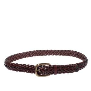 Gucci dark Burgundy Braided Leather Buckle Belt 90CM