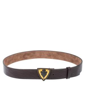 Gucci Dark Brown Leather Hysteria Crest Belt 90 CM