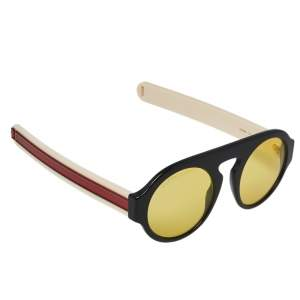 Gucci Black & Webstripe / Yellow GG0256S Round Sunglasses