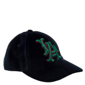 Gucci Navy Blue LA Embroidered Velvet Baseball Cap