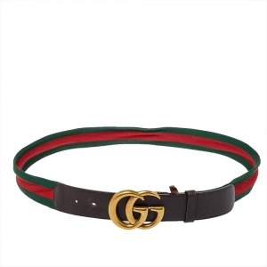 Gucci Brown Leather Web Double G Buckle Belt 105CM