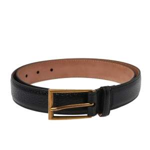 Gucci Black Textured Leather Buckle Belt 90 CM