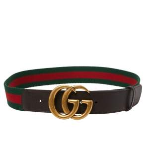Gucci Brown Web Canvas and Leather Double G Buckle Belt 90 CM