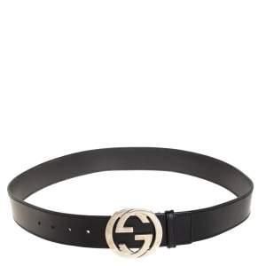 Gucci Black Leather Interlocking G Buckle Belt 95CM