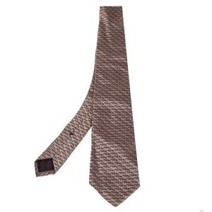 Gucci Brown GG Pattern Jacquard Silk Tie