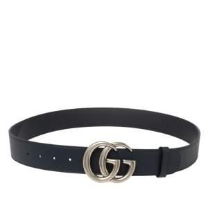 Gucci Blue Leather GG Marmont Buckle Belt 95CM