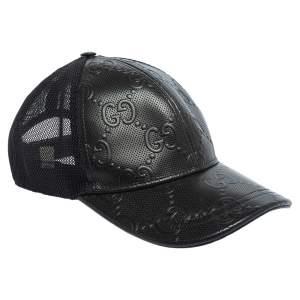 قبعة بيسبول غوتشي جلد نقشة شعار الماركة جي جي أسود مقاس صغير (سمول)