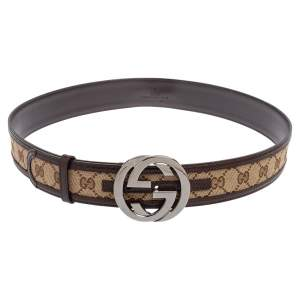 Gucci Beige/Ebony GG Canvas and Leather Interlocking G Buckle Belt 95 CM