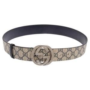 Gucci Beige GG Supreme Canvas Interlocking G Buckle Belt 90 CM