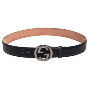 Gucci Black Guccissima Leather Interlocking G Buckle Belt 100CM