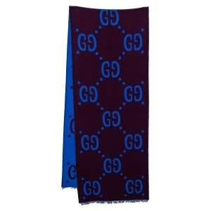 Gucci Brown & Blue Monogram Jacquard Wool Stole