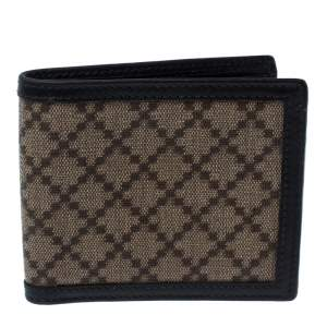 Gucci Beige/Black Diamante Canvas and Leather Bi Fold Wallet