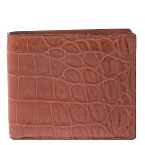 Gucci Orange Crocodile Bifold Wallet