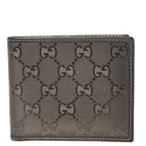 Gucci Metallic Gold GG Imprime Canvas Bi Fold Wallet
