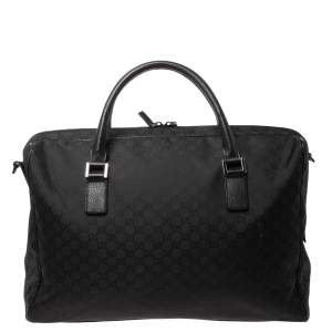 Gucci Black GG Nylon Weekender Travel Bag