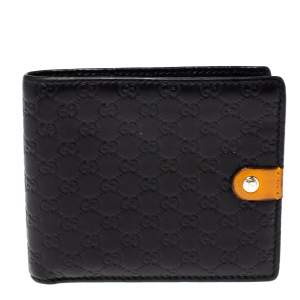 Gucci Black/Mustard GG Microguccissima Leather Bifold Wallet