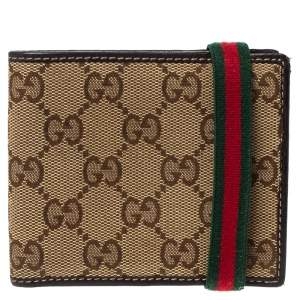 Gucci Beige/Brown GG Canvas and Leather Web Bifold Wallet