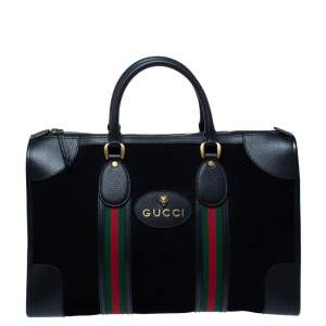 Gucci Black Suede and Leather Neo Vintage Web Duffle Bag