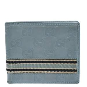Gucci Blue Guccissima Leather Web Bifold Wallet