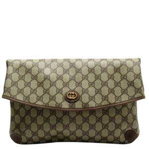 Gucci Bronw/Beige GG Canavs PVC Leather Pouch Bag