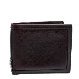 Gucci Dark Brown Diamante Leather Bifold Wallet
