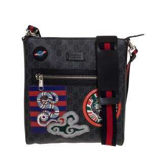 Gucci Black GG Supreme Coated Canvas and Leather Night Courrier Messenger Bag