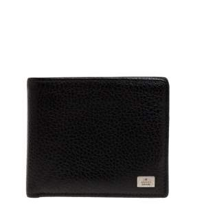 Gucci Black Leather Logo Plaque Bifold Compact Wallet
